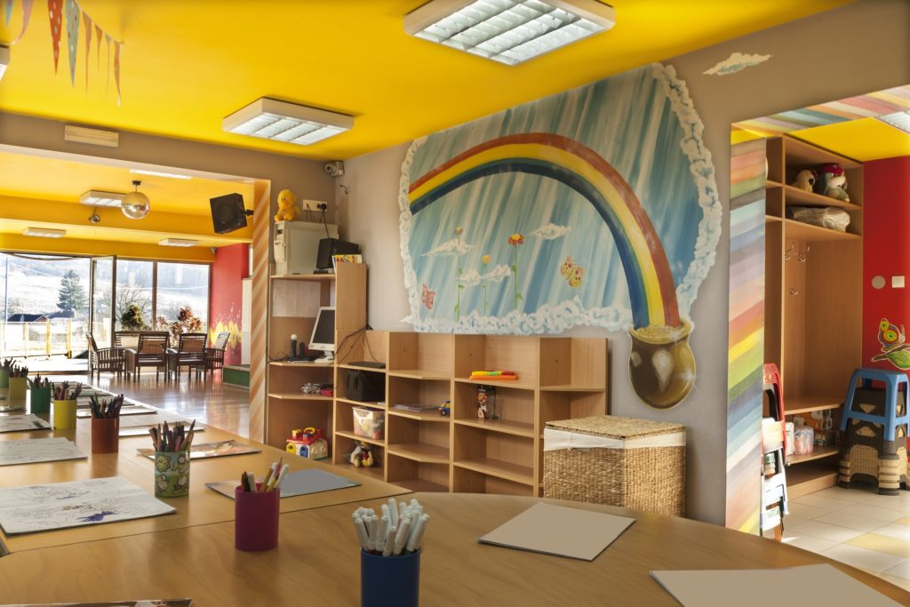 A-day-care-center-for-children-with-mottled-walls-and-lots-of-toys-Image