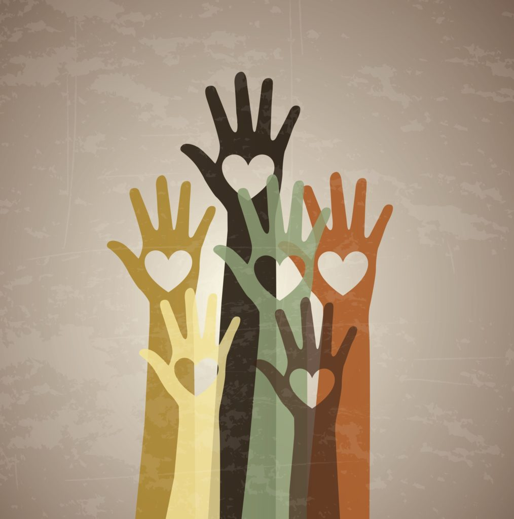 several-hands-with-a-heart-in-the-center-over-vintage-background-Vector